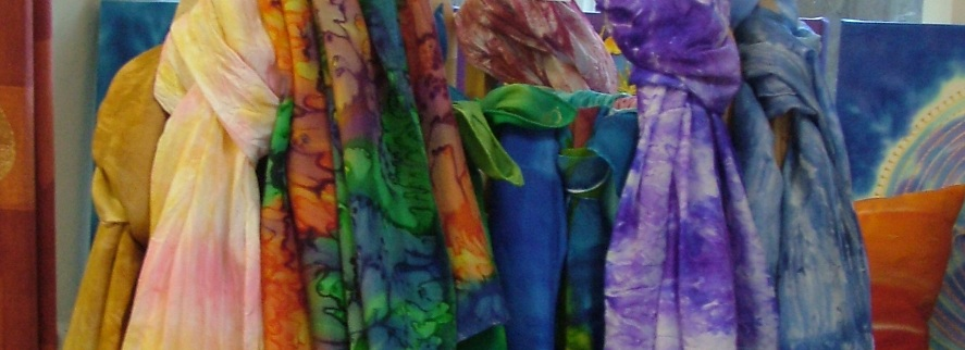 Fiona Stolze hand painted silk scarves