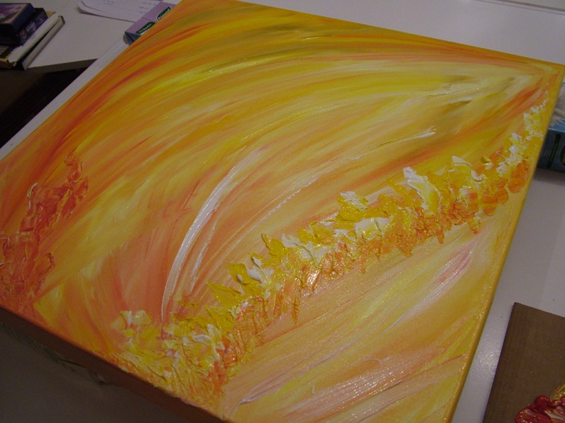 Orange firey abstract acrylic painting fionastolze