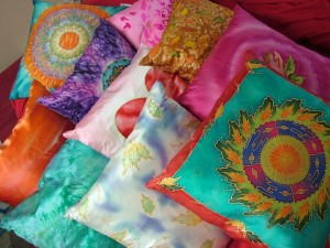 Assorted silk cushions